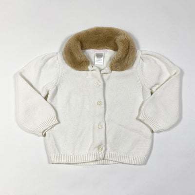 Janie and Jack white knit cardigan with faux fur collar 12-18M
