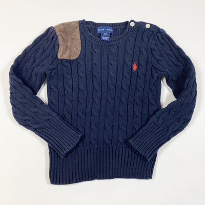 Ralph Lauren navy cable knit pullover with suede patch 4Y