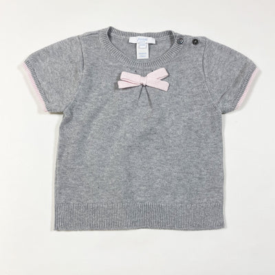 Jacadi grey knit top with pink bow 23M/86cm