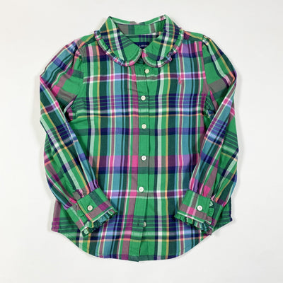 Ralph Lauren green plaid ruffle detail brushed cotton blouse 5Y