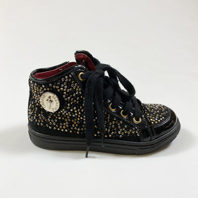 Cesare Paciotti black patent leather embellished high-top sneakers 26