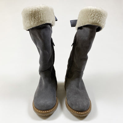 Jacadi grey suede shearling lined boots 25