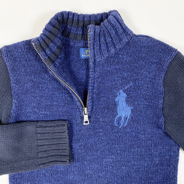 Ralph Lauren blue two-tone heavy knit half-zip pullover 5Y