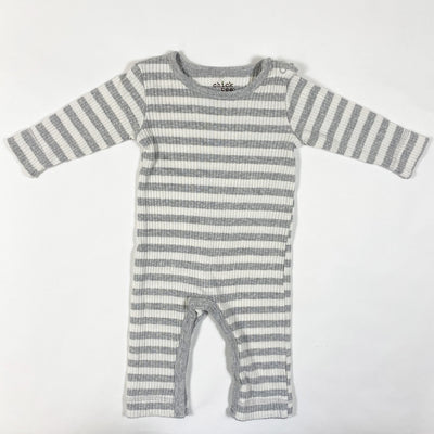 Chick Pea grey/white ribbed striped jumpsuit 3-6M