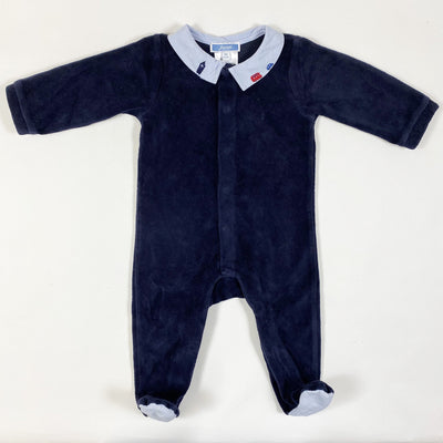 Jacadi navy velour pyjama with car embroidered collar 6M/67