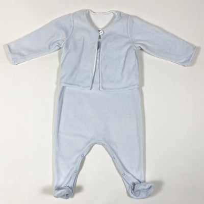 Petit Bateau baby blue velour jacket and dungaree set 6M/67