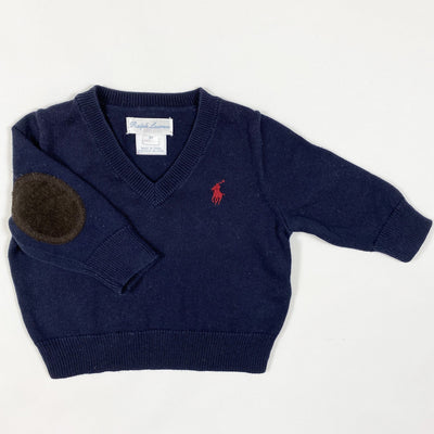 Ralph Lauren navy pullover with elbow pads 3M