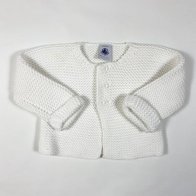 Petit Bateau white heavy knit cotton cardigan 6M/67cm