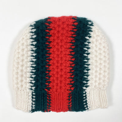 Gucci Kids red/green striped heavy knit cap