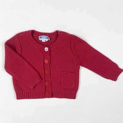 Jacadi red cotton knit cardigan 6M/67