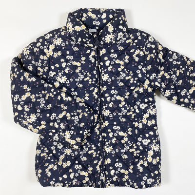 Petit Bateau navy flower print padded fleece-lined jacket 6Y/116