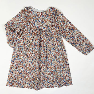 Bonton floral long-sleeved cotton voile dress with ruffles  6Y