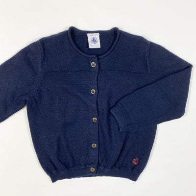 Petit Bateau navy cotton/wool mix knit cardigan 3/94cm