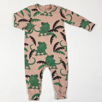 Mini Rodini pink dinosaur print long-sleeved jumpsuit 68/74