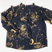 Soft Gallery black moon print blouse with ruffles 4Y