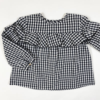 Zara black checked blouse with ruffles 2-3Y/98cm