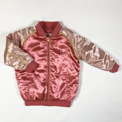 Soft Gallery pink satin bomber jacket Heartart 4Y