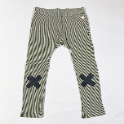 Tiny Cottons striped leggings with x on knees 6Y
