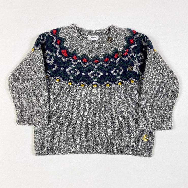 Petit Bateau grey knitted jumper with traditional pattern 6M/67