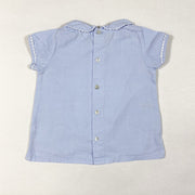 Laranjinha light blue short-sleeved blouse with peter pan collar and white detailing 12M