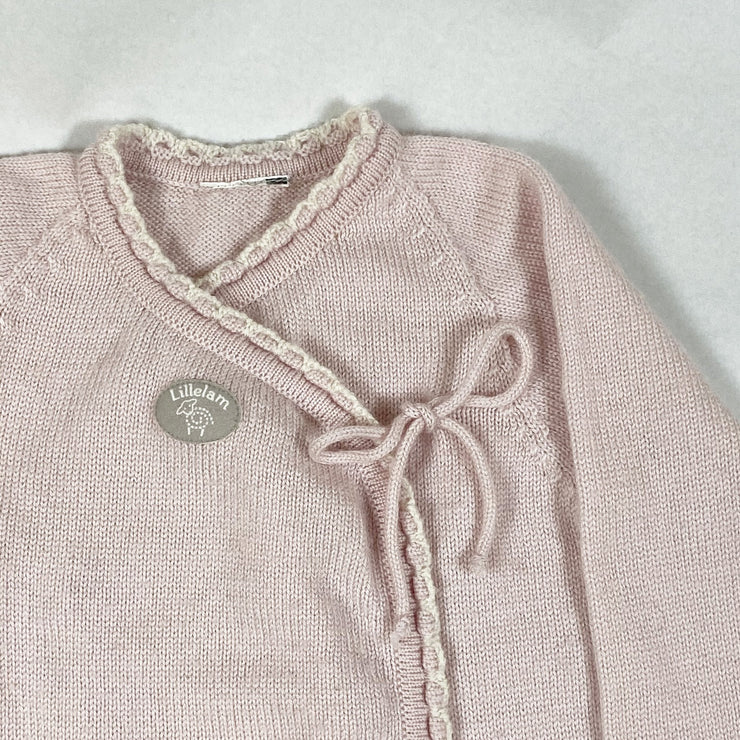 Lillelam light pink long-sleeved wool knitted jumpsuit 9M