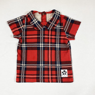 Mini Rodini red short-sleeved tartan blouse with collar 80-86