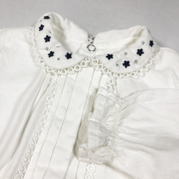 Mayoral off-white blouse body with embroidered collar 62-68