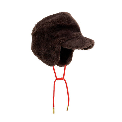 Mini Rodini brown faux fur trapper hat 52-54