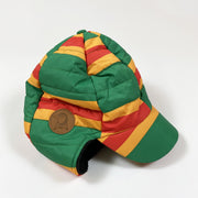 Mini Rodini green/orange/red striped padded hat with ear flaps 48-50