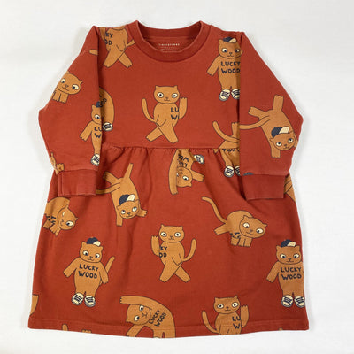 Tiny Cottons orange cat print long-sleeved dress 4Y