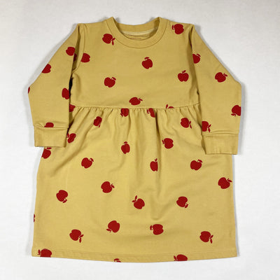 Tiny Cottons yellow long-sleeved french terry dress with red apples 4Y
