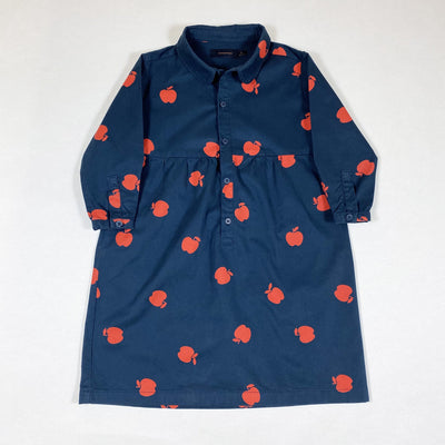 Tiny Cottons blue 3/4-sleeved shirt dress with red apple print 4Y