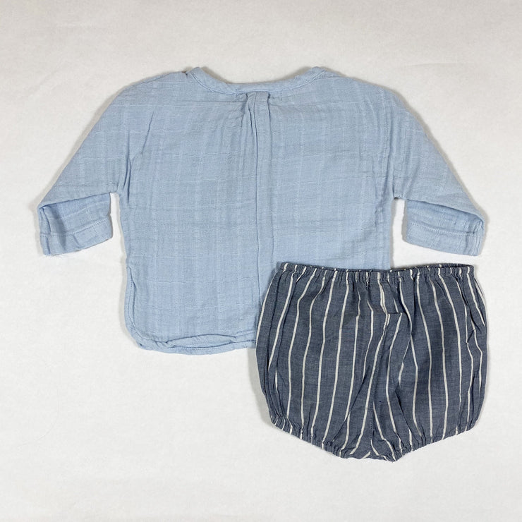 Serendipity baby blue muslin long-sleeved shirt and blue striped bloomers 3M/62