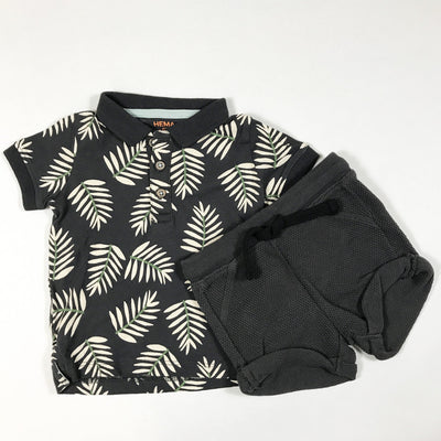 Hema grey plant print polo with grey shorts 68