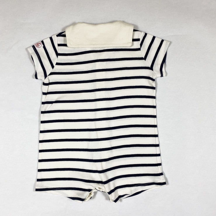 Petit Bateau navy striped short-sleeved jumpsuit with collar 12M/74