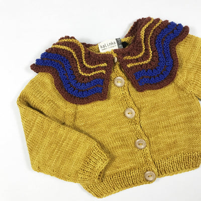 Kalinka mustard handknit cardigan with oversize collar Second Season diff. sizes