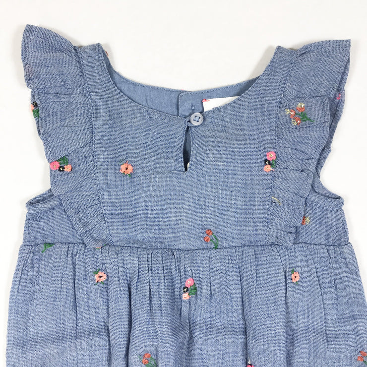 Bonheur du Jour blue flower embroidered romper with ruffles