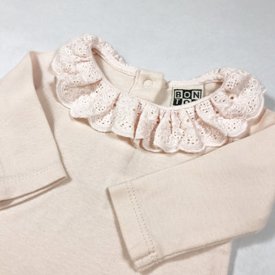 Bonton pale rose long-sleeved body with oversized lace collar Second Season 1M