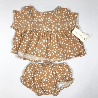 Rylee + Cru terracotta pebble print short-sleeved blouse & bloomers Second Season 3-6M