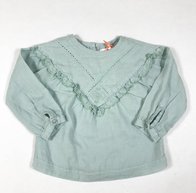 Bonheur du Jour mint blouse with ruffles Second Season 6M