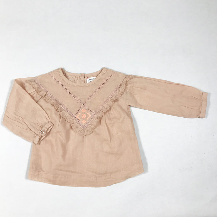 Bonheur du Jour pink blouse with ruffles and embroidery Second Season 6M