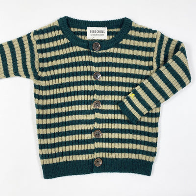 Bobo Choses green/taupe striped knit cardigan Second Season 12-18M