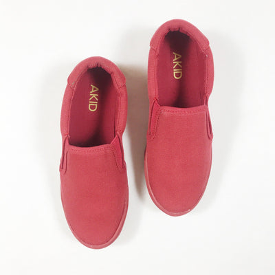 Akid red canvas slip-ons Second Season diff. sizes