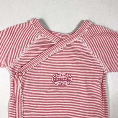 "Petit Bateau pink striped long-sleeved ""wickelbody"" 3M/60"