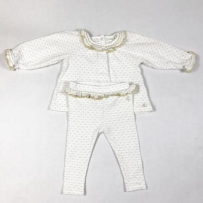 Petit Bateau white and gold polka-dot set 6M/67