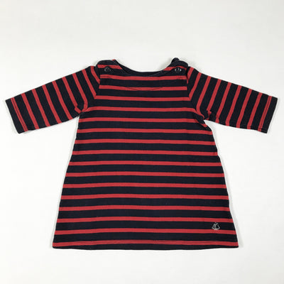 Petit Bateau red and blue striped long-sleeved dress 6M/67