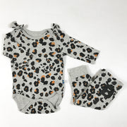 The Brand grey leopard long-sleeved body with matching leggings