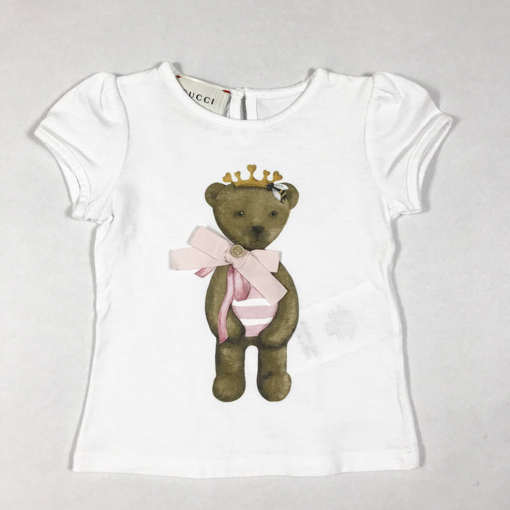 Gucci white short-sleeved t-shirt with teddy print 3-6M