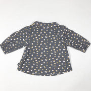 Cadet Rousselle Paris grey fruit print long-sleeved blouse with collar 1M