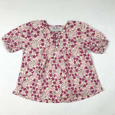 Lily Rose Collection pink floral short-sleeved blouse 3-6M
